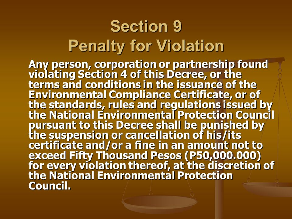 Section 9 Penalty for Violation