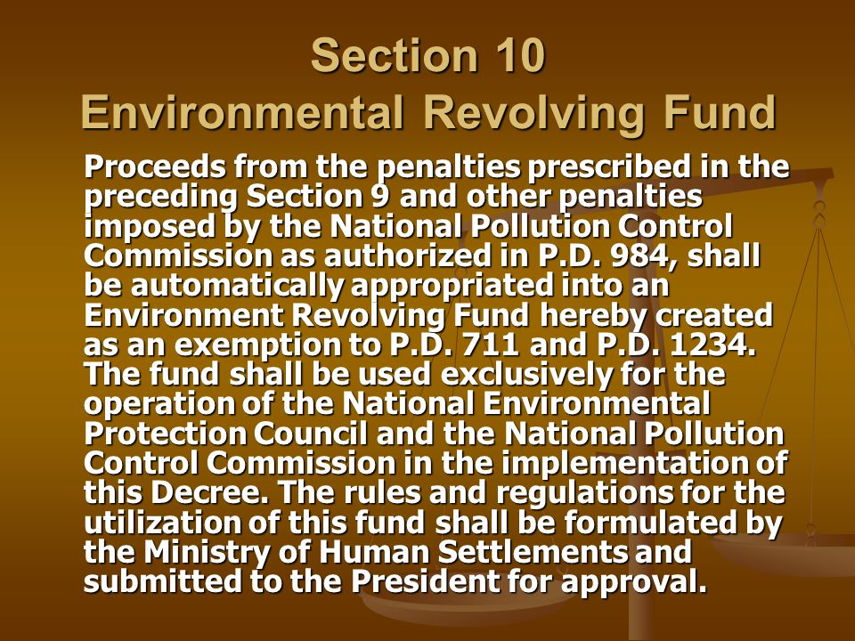 Section 10 Environmental Revolving Fund