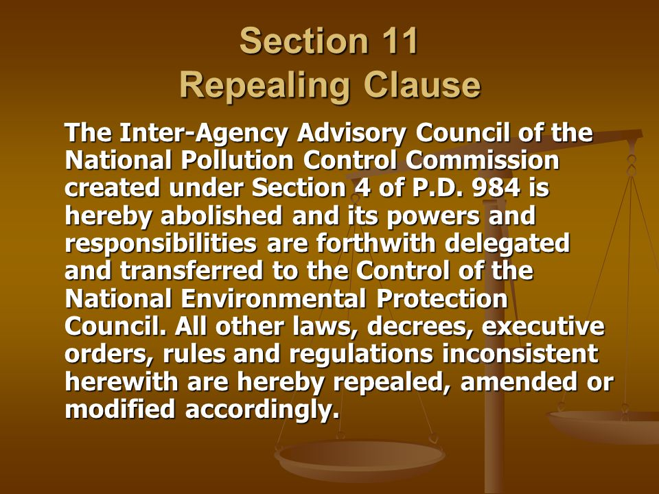 Section 11 Repealing Clause