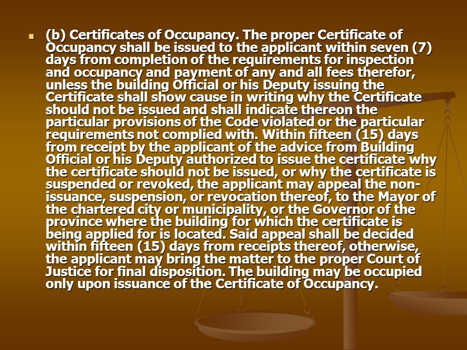 (b) Certificates of Occupancy