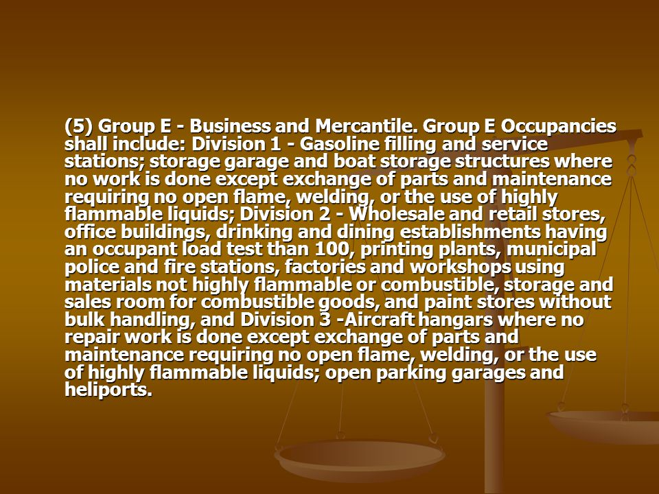(5) Group E - Business and Mercantile