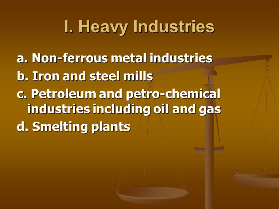 I. Heavy Industries a. Non-ferrous metal industries