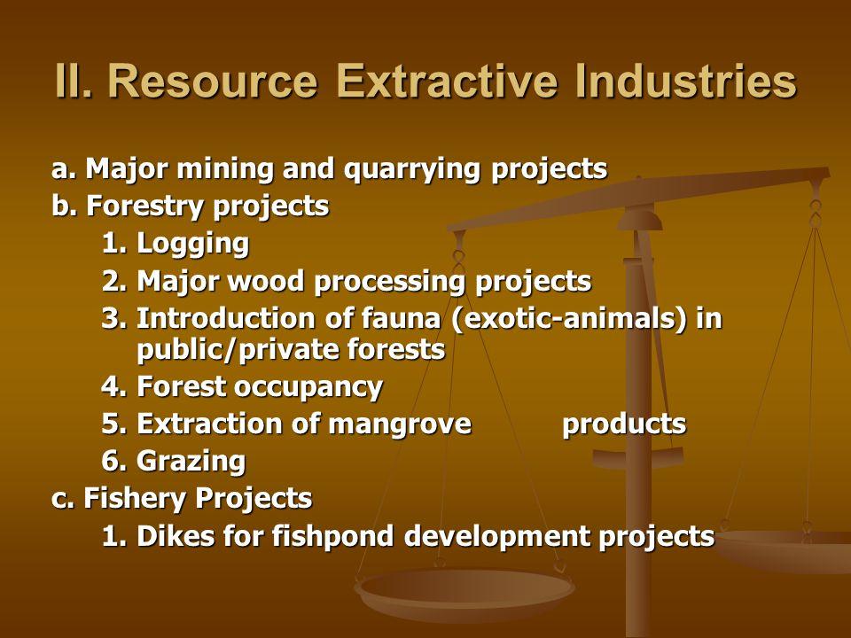 II. Resource Extractive Industries