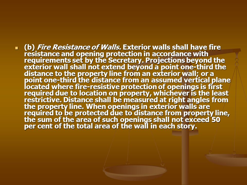 (b) Fire Resistance of Walls