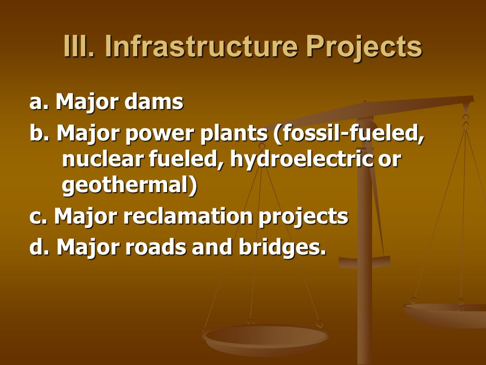 III. Infrastructure Projects