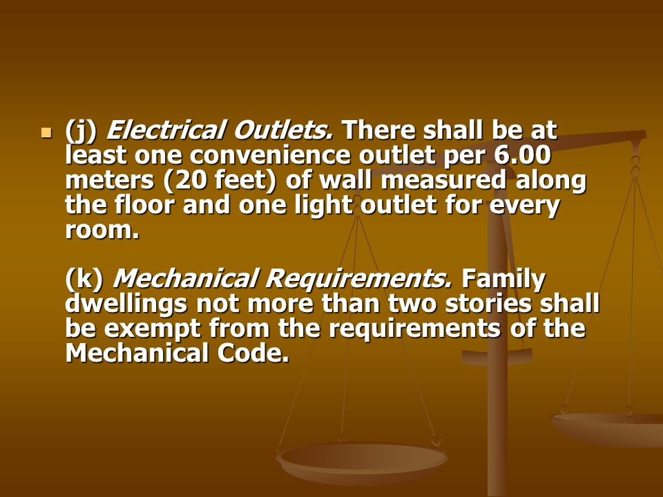 (j) Electrical Outlets