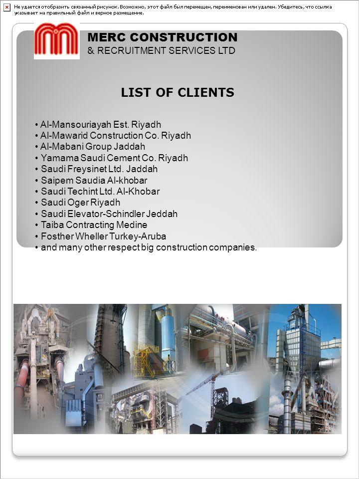 MERC CONSTRUCTION LIST OF CLIENTS & RECRUITMENT SERVICES LTD