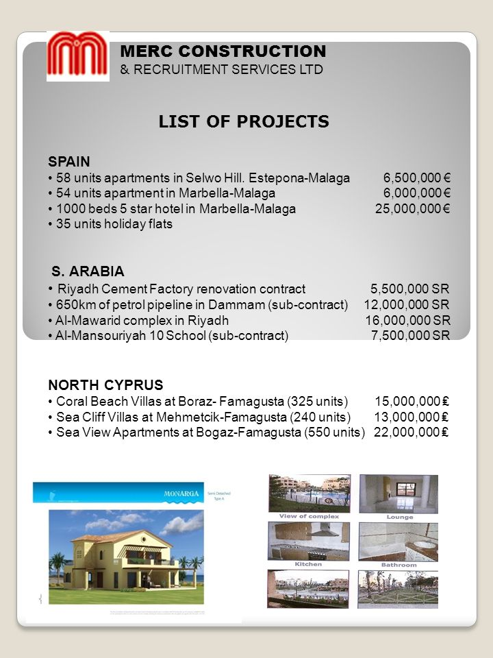 MERC CONSTRUCTION LIST OF PROJECTS SPAIN