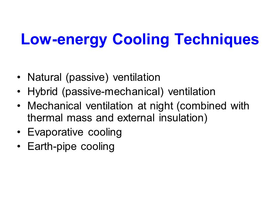 Low-energy Cooling Techniques
