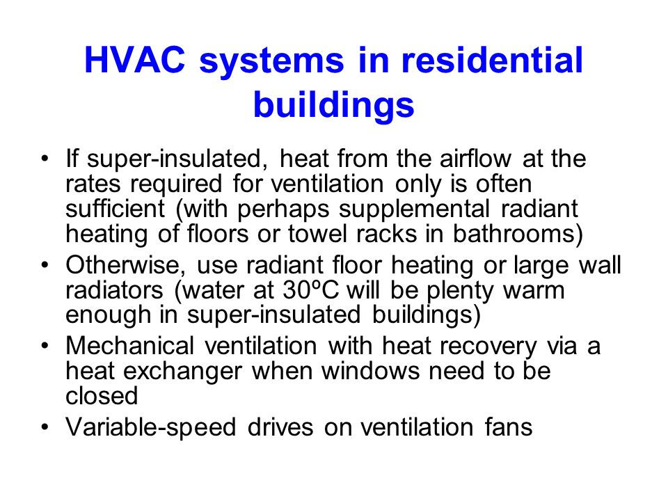 HVAC systems in residential buildings