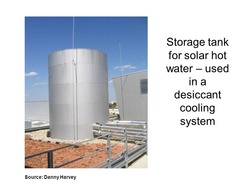 Storage tank for solar hot water – used in a desiccant cooling system