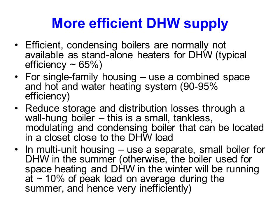 More efficient DHW supply