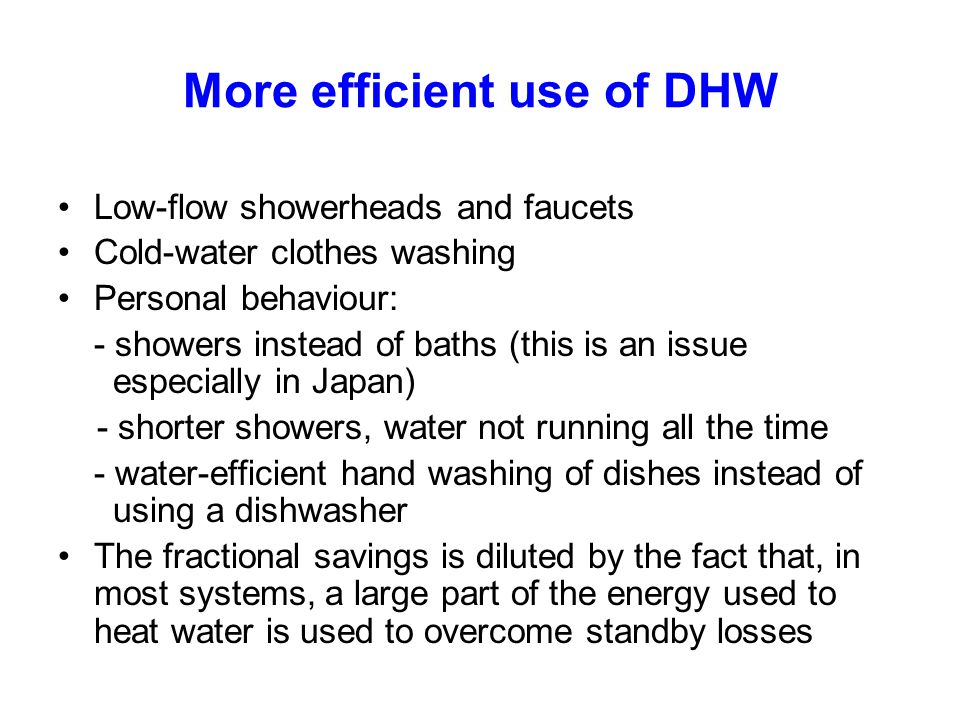 More efficient use of DHW