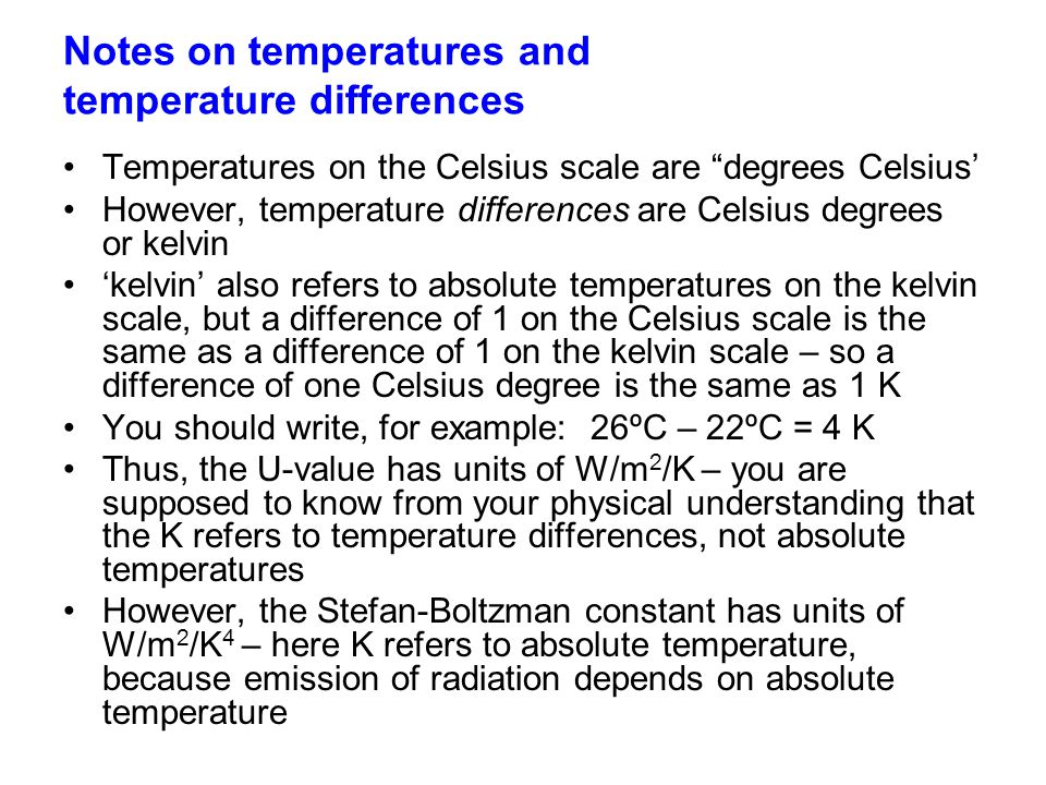 Notes on temperatures and temperature differences