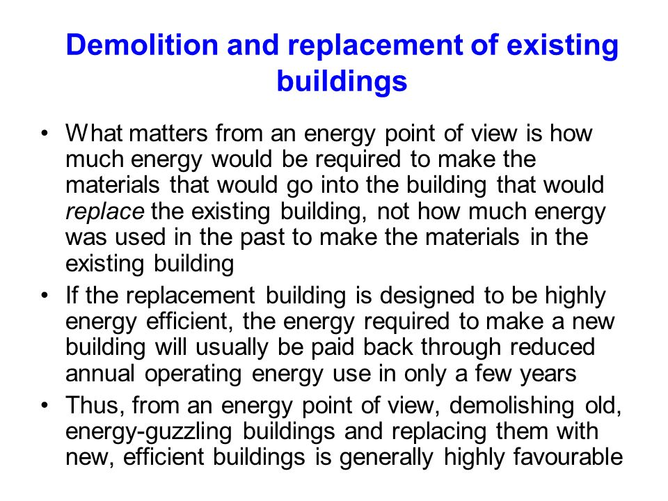 Demolition and replacement of existing buildings