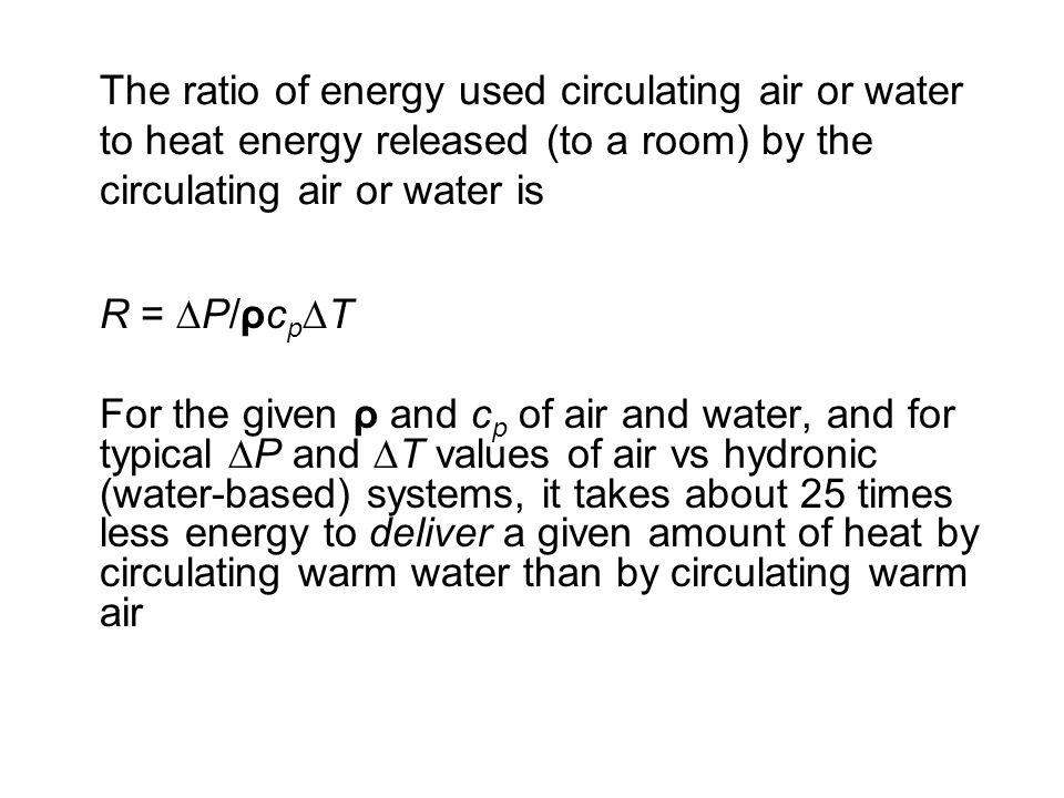 The ratio of energy used circulating air or water to heat energy released (to a room) by the circulating air or water is