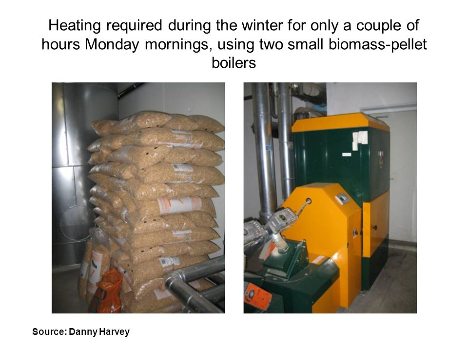 Heating required during the winter for only a couple of hours Monday mornings, using two small biomass-pellet boilers