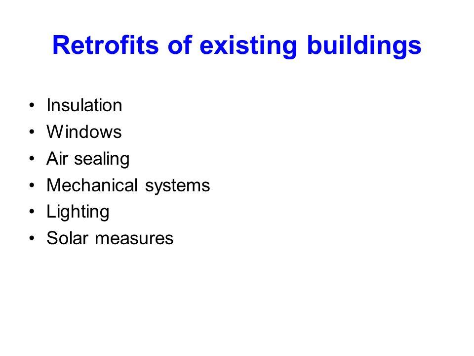 Retrofits of existing buildings