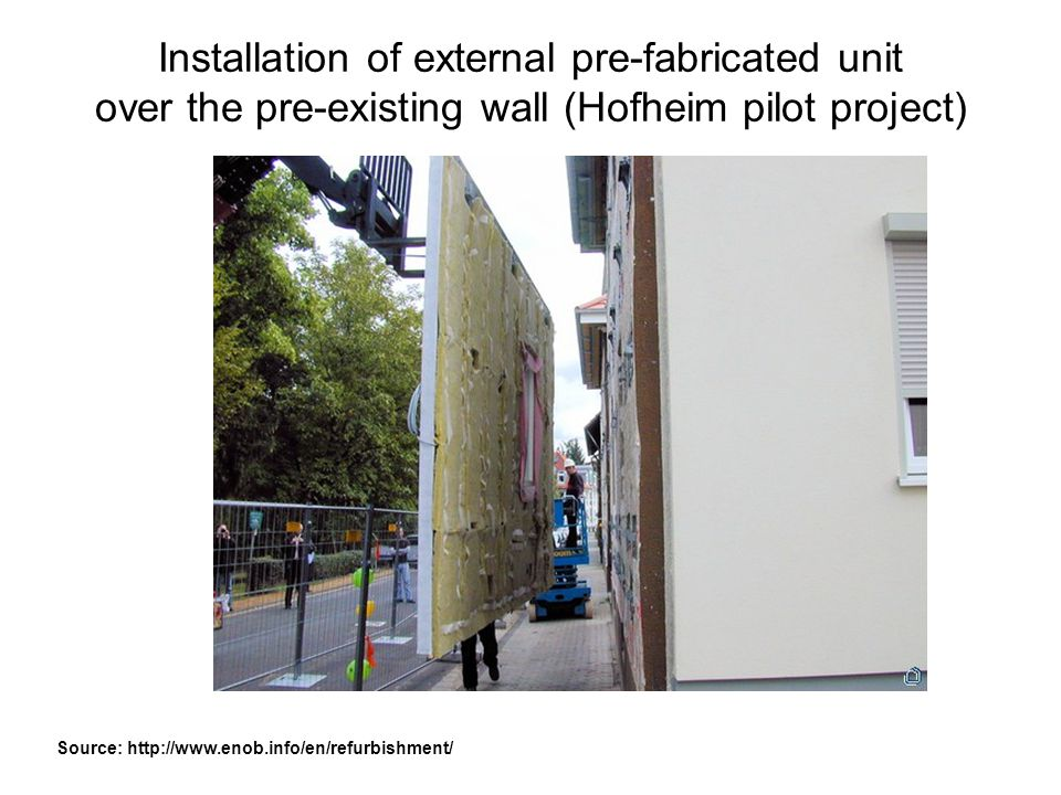 Installation of external pre-fabricated unit over the pre-existing wall (Hofheim pilot project)
