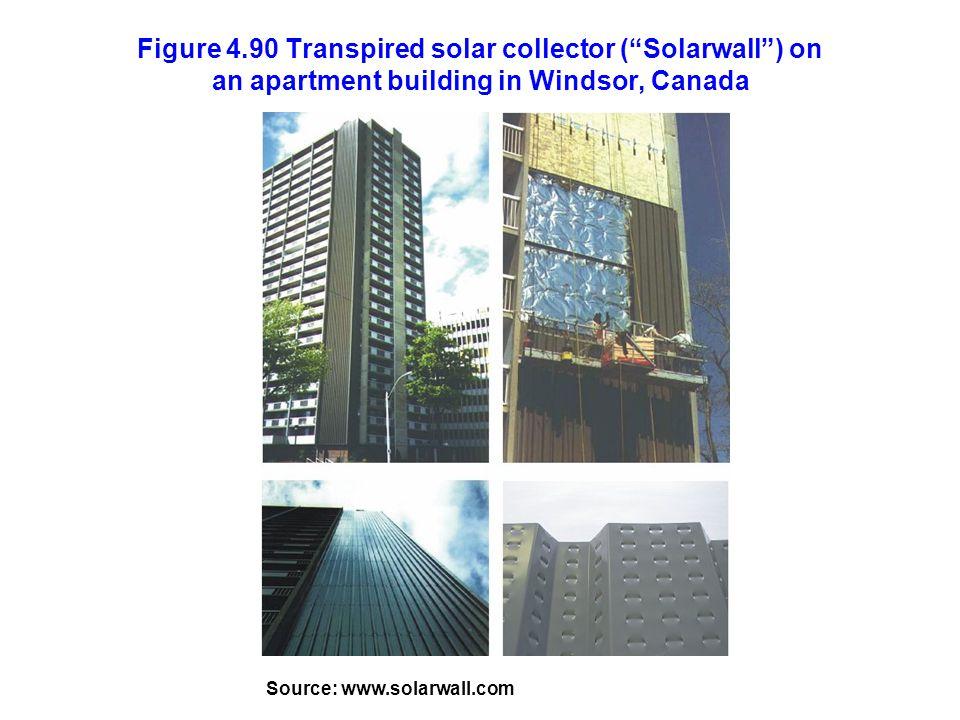 Figure 4.90 Transpired solar collector ( Solarwall ) on an apartment building in Windsor, Canada