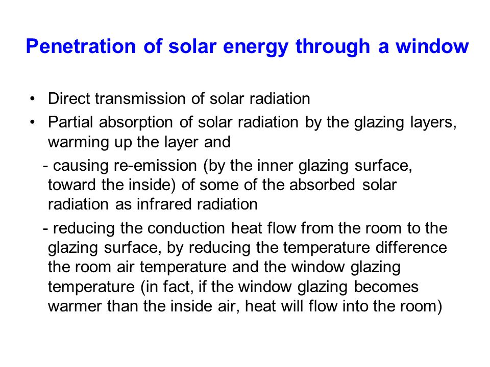 Penetration of solar energy through a window