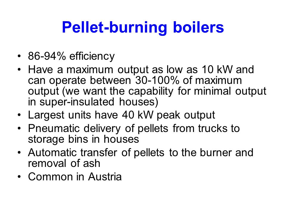 Pellet-burning boilers