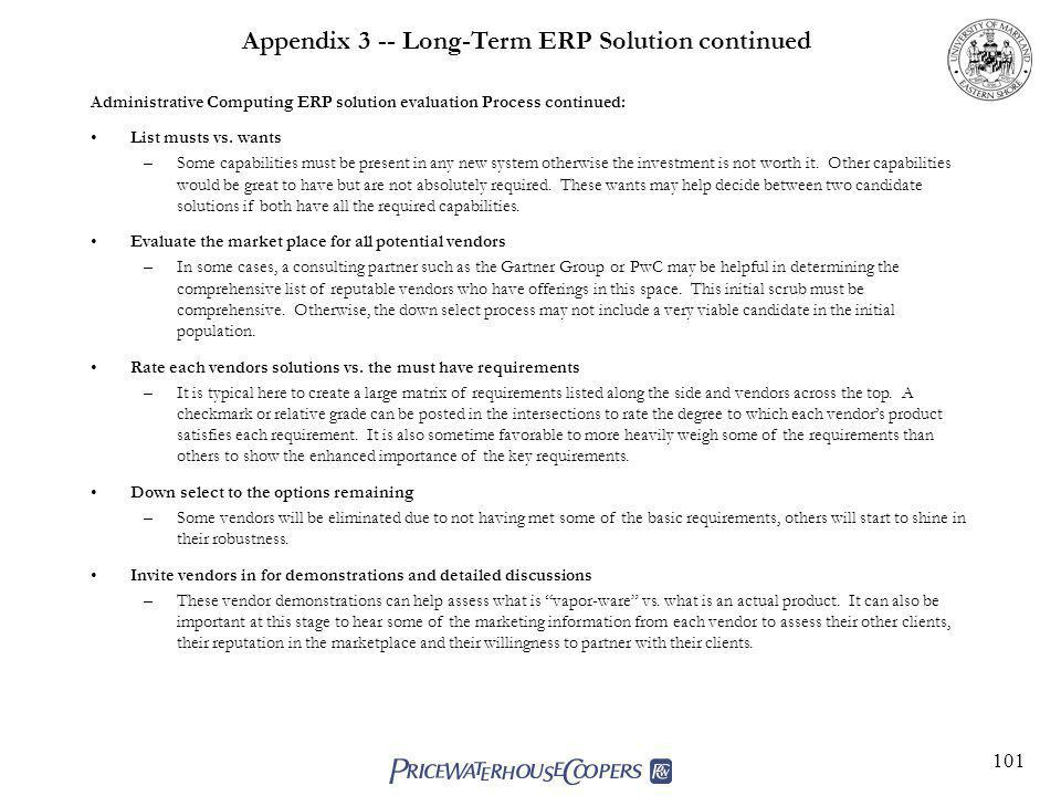 Appendix 3 -- Long-Term ERP Solution continued