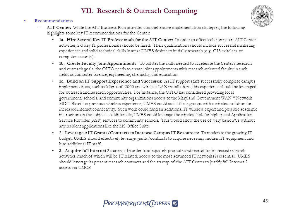 VII. Research & Outreach Computing