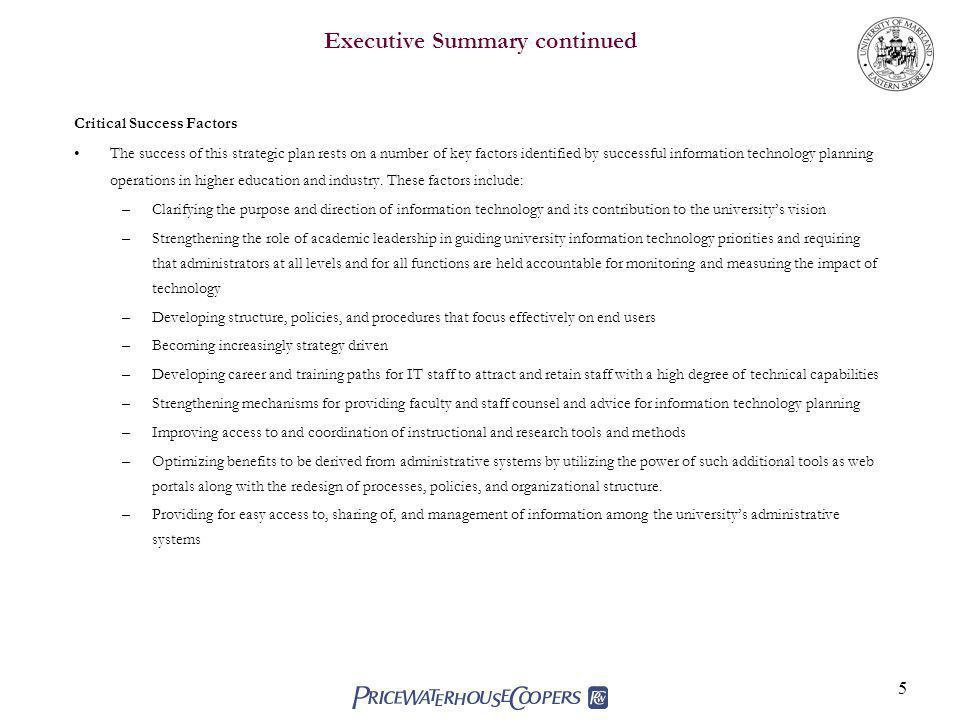 Executive Summary continued