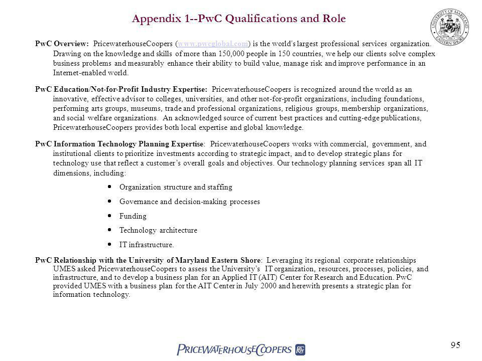 Appendix 1--PwC Qualifications and Role