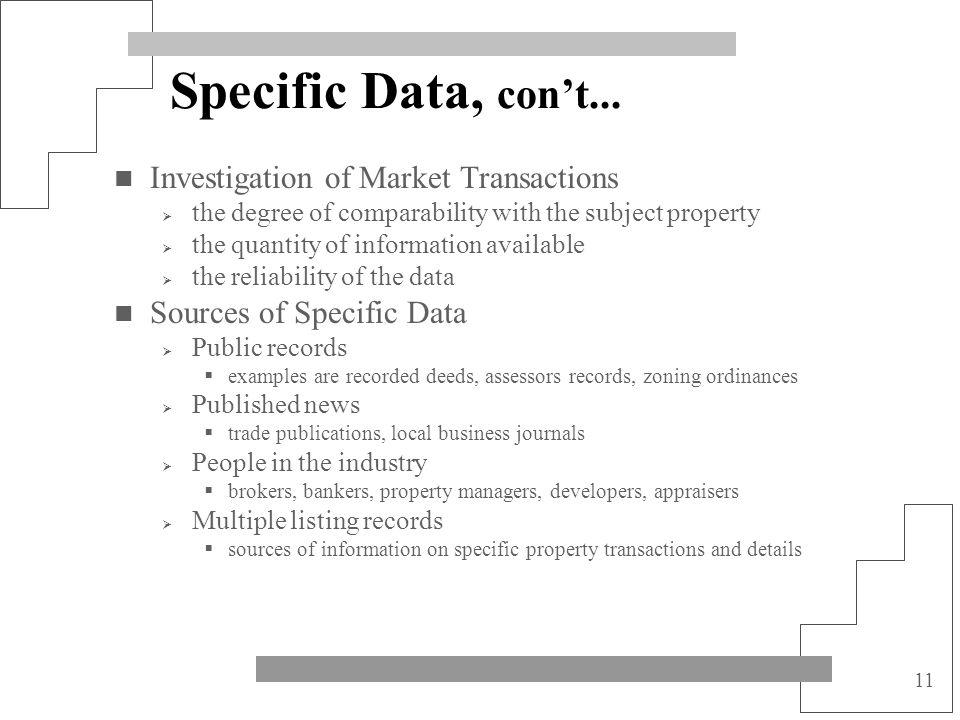 Specific Data, con't... Investigation of Market Transactions