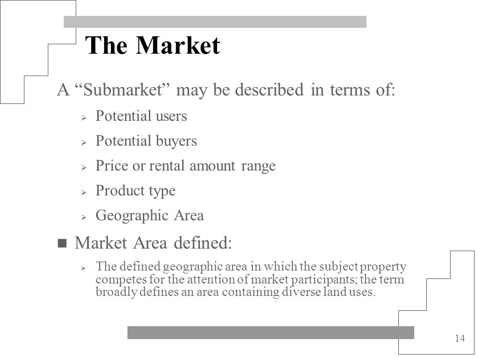 The Market A Submarket may be described in terms of:
