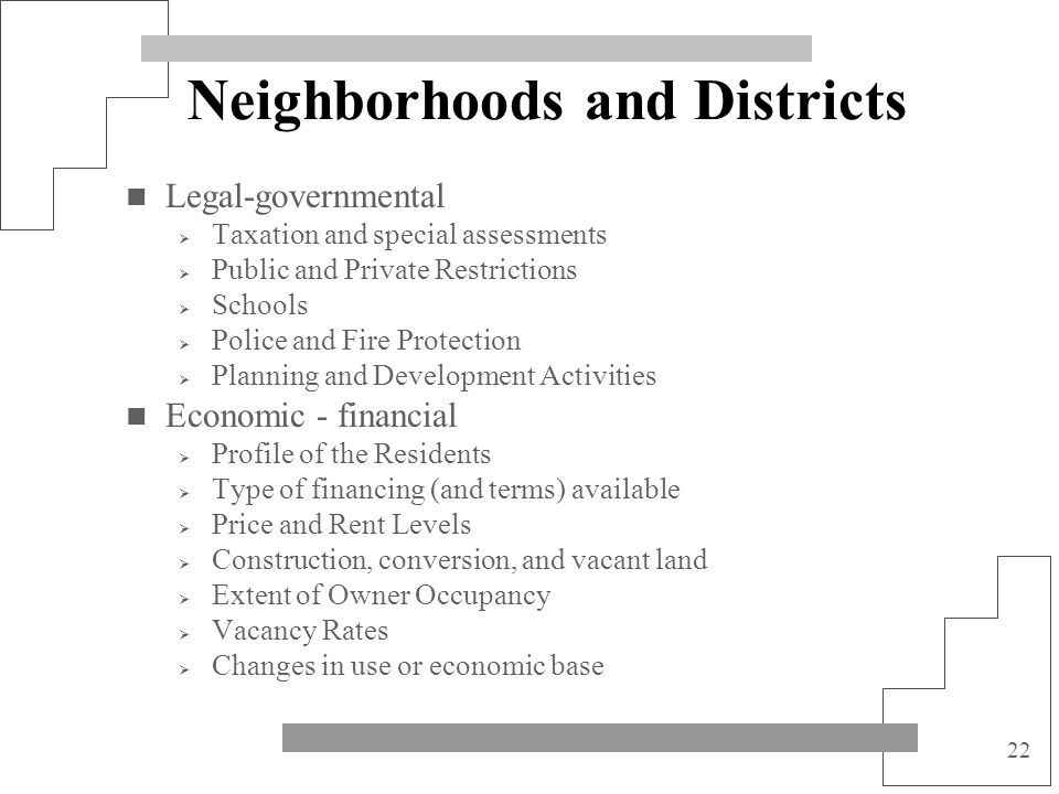 Neighborhoods and Districts