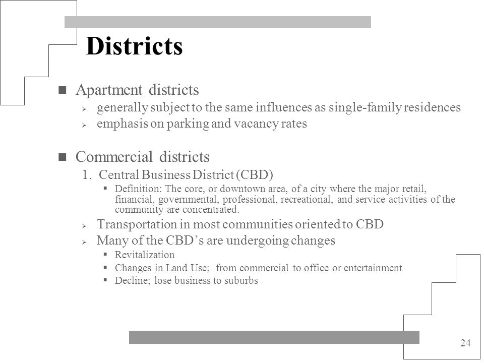 Districts Apartment districts Commercial districts
