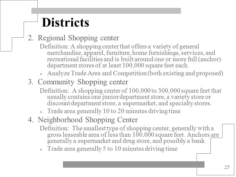 Districts 2. Regional Shopping center 3. Community Shopping center