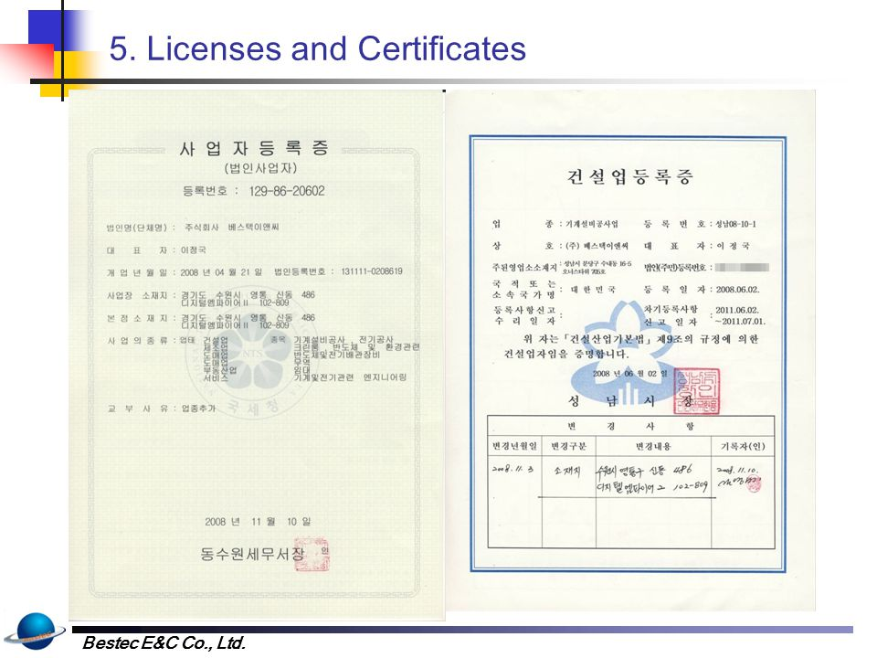 5. Licenses and Certificates