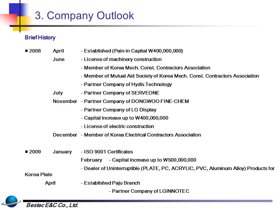 3. Company Outlook Brief History