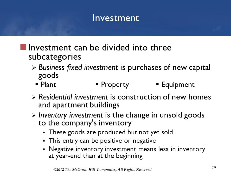 Investment Investment can be divided into three subcategories