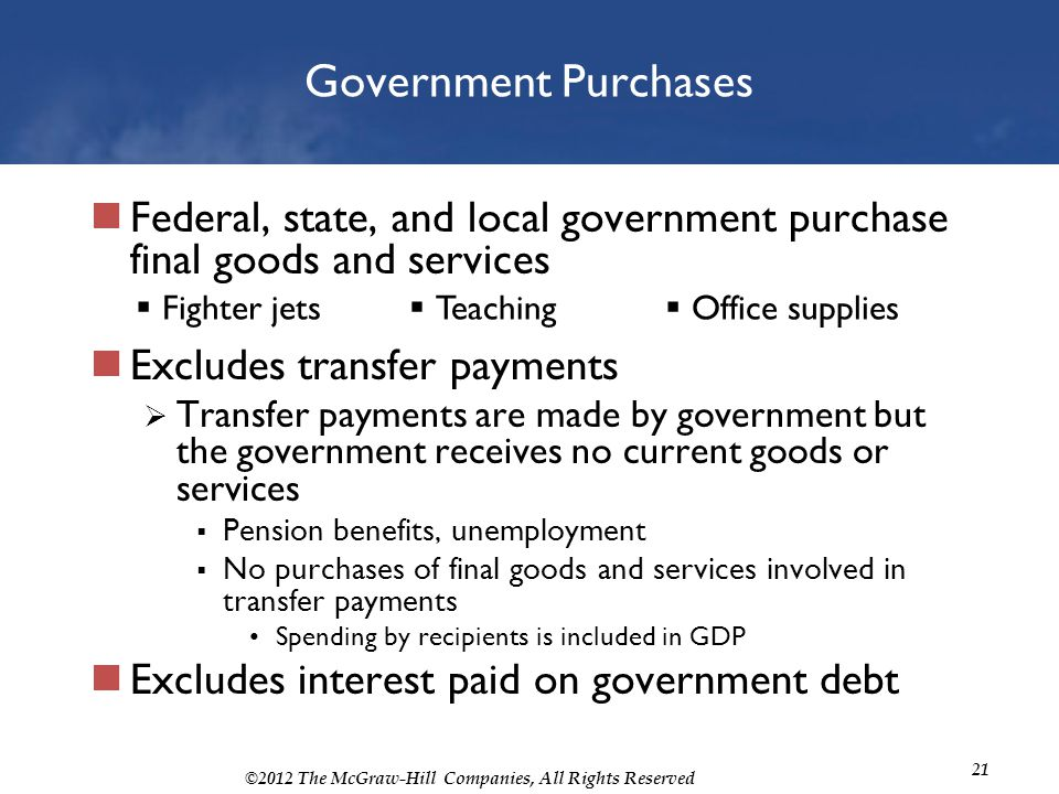 Government Purchases Federal, state, and local government purchase final goods and services. Excludes transfer payments.