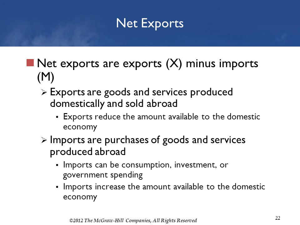 Net Exports Net exports are exports (X) minus imports (M)