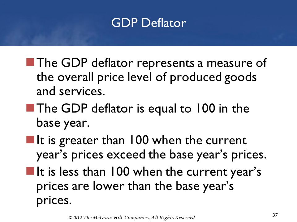 GDP Deflator The GDP deflator represents a measure of the overall price level of produced goods and services.