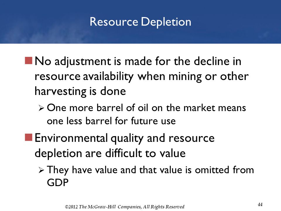 Environmental quality and resource depletion are difficult to value
