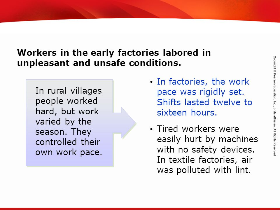 Workers in the early factories labored in unpleasant and unsafe conditions.