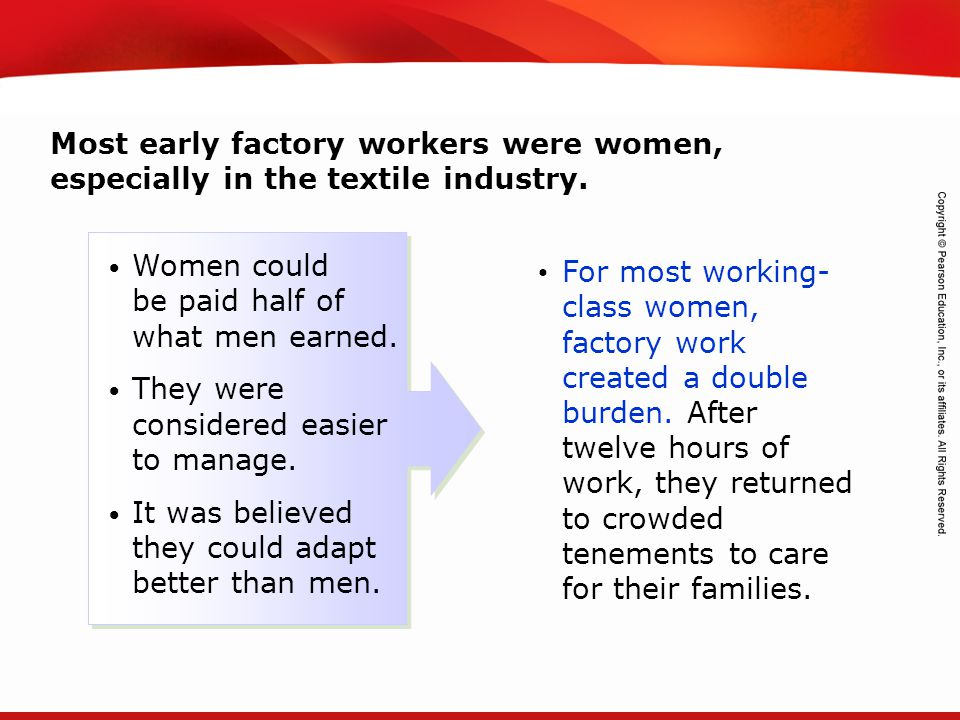 Most early factory workers were women, especially in the textile industry.
