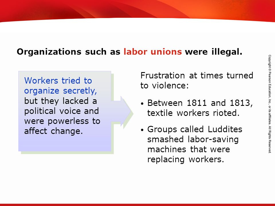 Organizations such as labor unions were illegal.