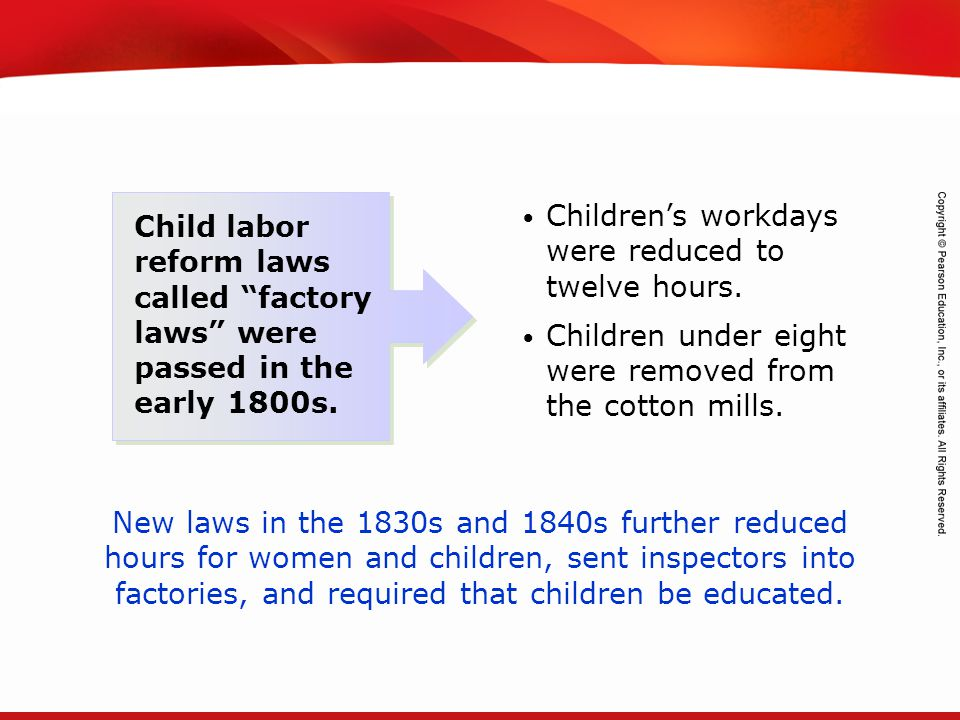 Children's workdays were reduced to twelve hours.