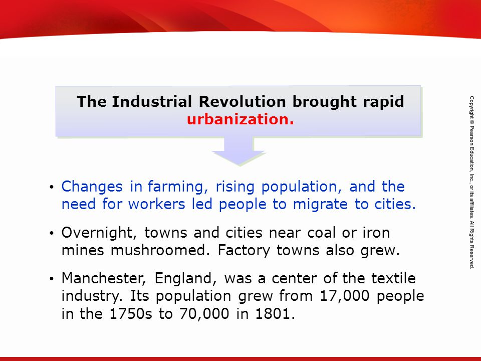 The Industrial Revolution brought rapid urbanization.
