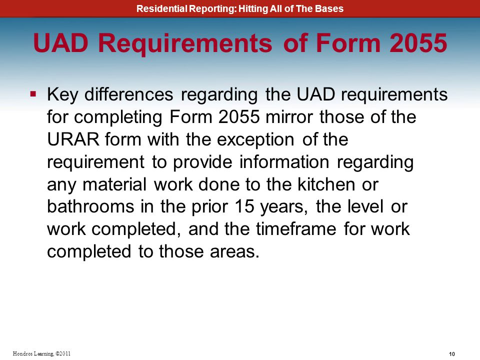 UAD Requirements of Form 2055