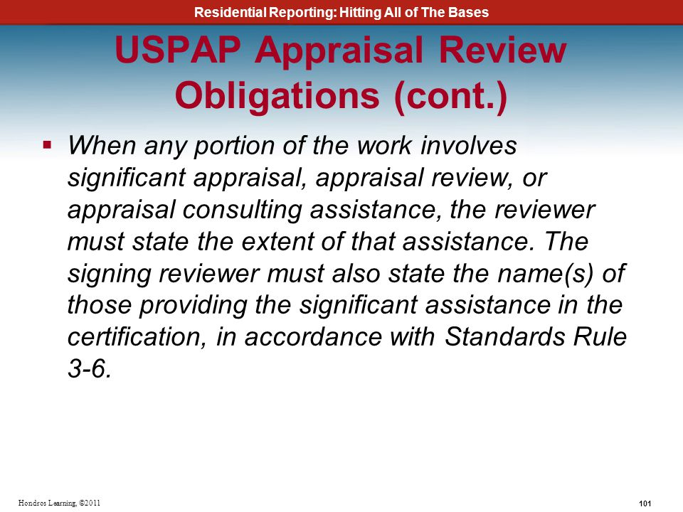 USPAP Appraisal Review Obligations (cont.)