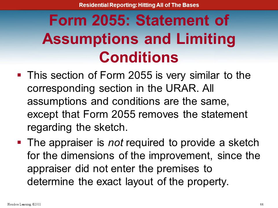Form 2055: Statement of Assumptions and Limiting Conditions